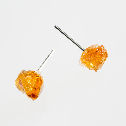 Raw Citrine Gemstone Earrings Silver Plated