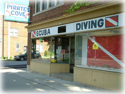 Store front of Wisconsins oldest running scuba diving store.