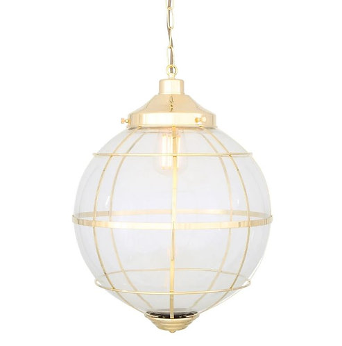 HENLOW GLASS GLOBE PENDANT LIGHT WITH BRASS CAGE