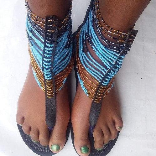Sandales gladiateur avec perles africaines