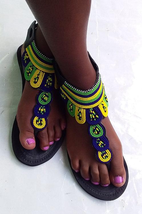 Gladiateurs  chaussures de perles Massaï en cuir