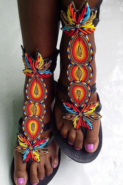 Gladiateurs / chaussures de perles Massaï/ femmes