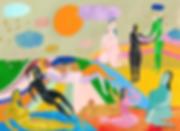 Sunshine and Rain, figurative artwork, women, rainbow, naive art, ana leovy, leovy, imaginatin, diversity