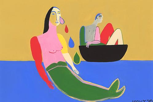 The Mermaid and the Sailor >> Original >> 28 x 48 cm