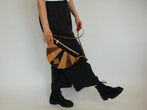 "Unikat Handtasche ""Moonbag"", compact, Patchwork, natur-braun"