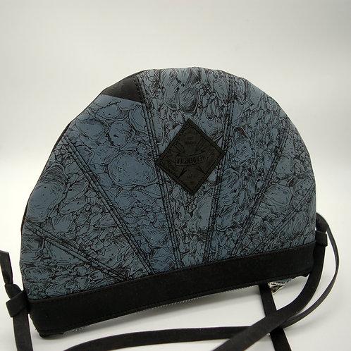 """Handtasche """"Moonbag"""", compact, Patchwork, schwarz Siebdruck"""