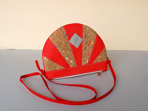 "Kleinserie Handtasche ""Moonbag"", compact, Patchwork coral Konfetti"