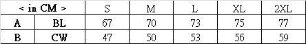 印Tee TS014尺碼表