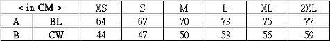 印Tee TS001尺碼表