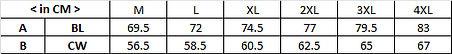 訂造風褸外套WJ002尺碼表