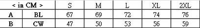 印Tee TS0010尺碼表