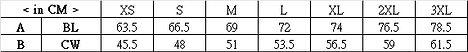 印Tee TS009尺碼表