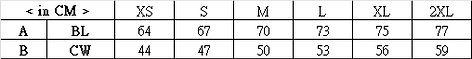 印Tee TS013尺碼表