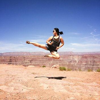 Flying side kick at the Grand Canyon