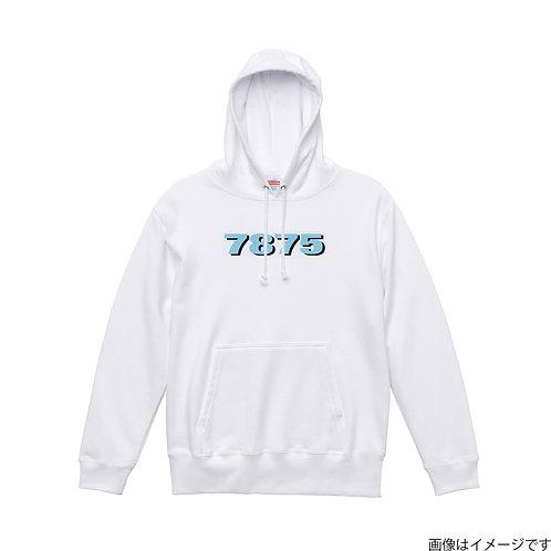 【7875】胸部空色ロゴ プルオーバーパーカー