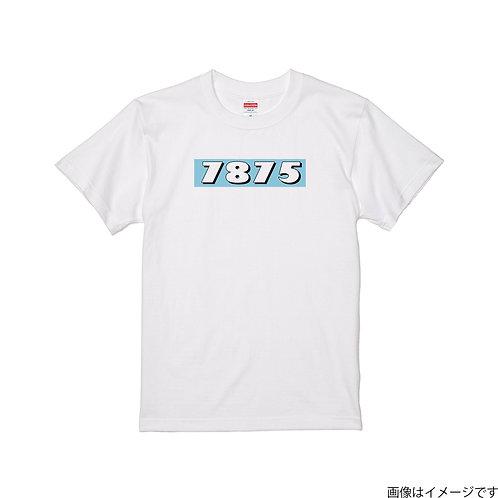 【7875】前面BOXロゴ 空×白 クールネック半袖Tシャツ