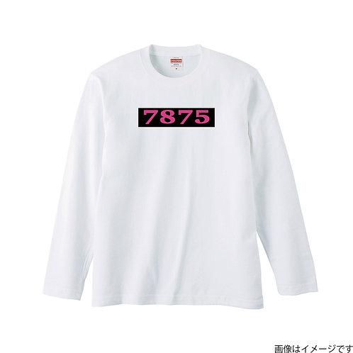 【7875】前面BOXロゴ 桃×黒 ロングスリーブTシャツ