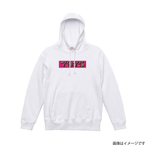 【7875】胸部BOXロゴ 杏×黄 プルオーバーパーカー