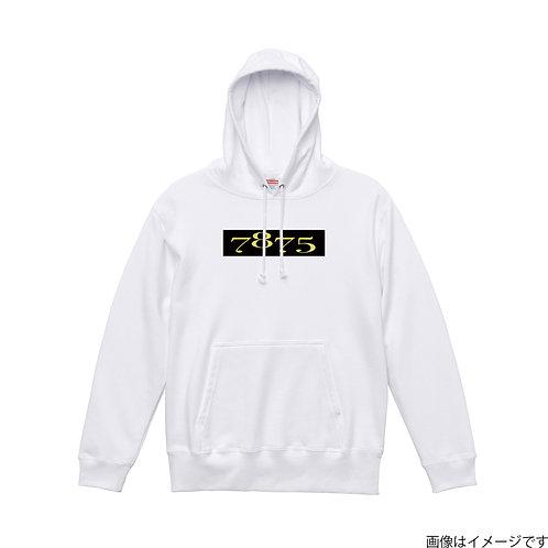 【7875】胸部BOXロゴ黒×黄 プルオーバーパーカー