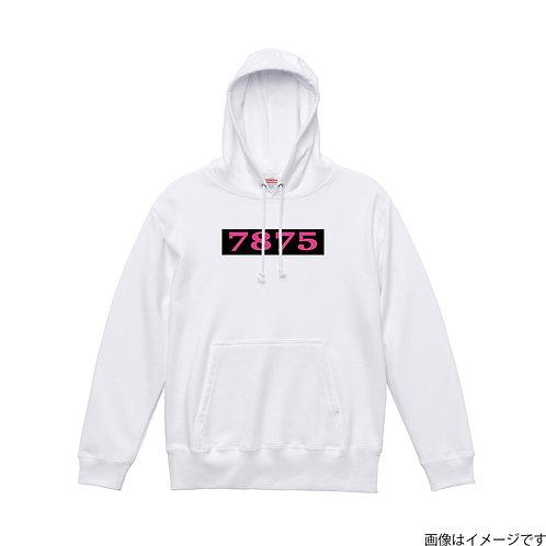 【7875】胸部BOXロゴ 桃×黒 プルオーバーパーカー