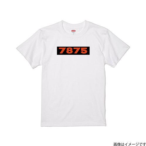 【7875】前面BOXロゴ濃橙×黒  クールネック半袖Tシャツ