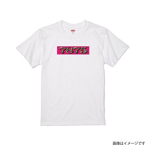 【7875】前面BOXロゴ 杏×黄 クールネック半袖Tシャツ