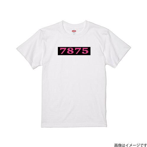 【7875】前面BOXロゴ 桃×黒 クールネック半袖Tシャツ