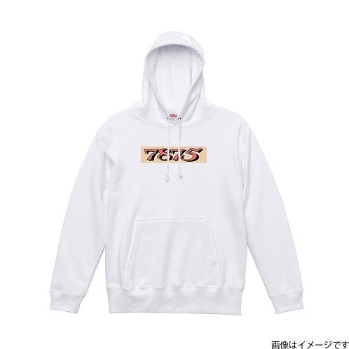 【7875】胸部BOXロゴ橙×黒 プルオーバーパーカー