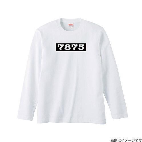 【7875】前面BOXロゴ 白×黒 ロングスリーブTシャツ