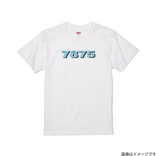 【7875】前面胸部空色ロゴ クールネック半袖Tシャツ