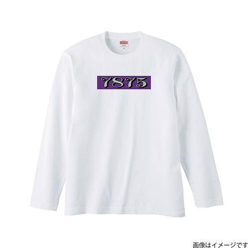 【7875】前面BOXロゴ 黄緑×紫 ロングスリーブTシャツ