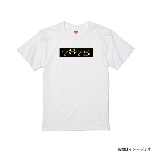 【7875】前面BOXロゴ黒×黄  クールネック半袖Tシャツ