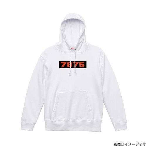 【7875】胸部BOXロゴ濃橙×黒 プルオーバーパーカー