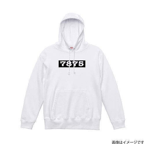 【7875】胸部BOXロゴ 白×黒 プルオーバーパーカー