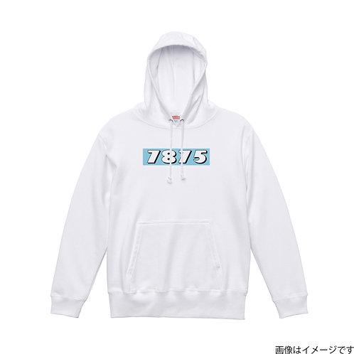 【7875】胸部BOXロゴ 空×白 プルオーバーパーカー