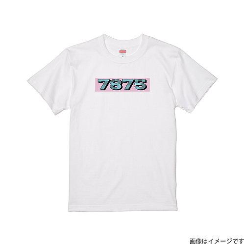 【7875】前面BOXロゴ青×桃  クールネック半袖Tシャツ