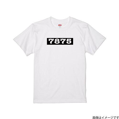 【7875】前面BOXロゴ 白×黒  クールネック半袖Tシャツ