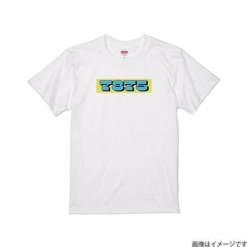 【7875】前面BOXロゴ 空×黄 クールネック半袖Tシャツ