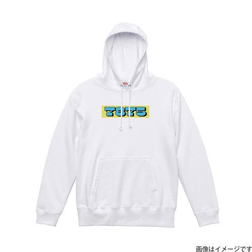 【7875】胸部BOXロゴ 空×黄 プルオーバーパーカー