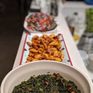 Sauteed Greens, fried plantains! Its an