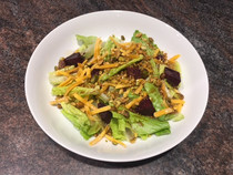 Beet Salad with Cheddar, Pistachios, and Balsamic Vinaigrette