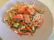 Salmon & Veggies with Sesame-Soy Glaze