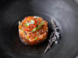 Salmon Tartare with Black Sesame and Chili Pepper