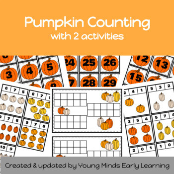 Pumpkin themed ten frames and counting clip cards