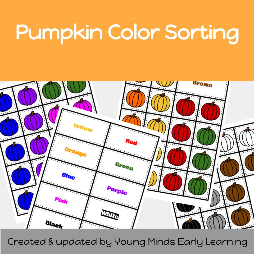 Pumpking Color Sorting Printable Activity