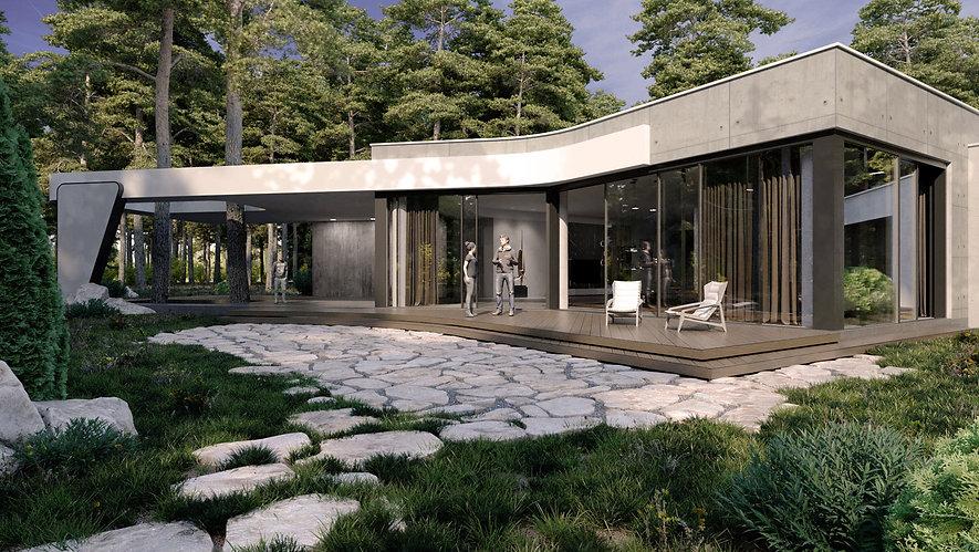 Дом в стиле конструктивизм главный фасад