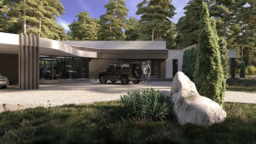 Дом в стиле конструктивизм главный вход.