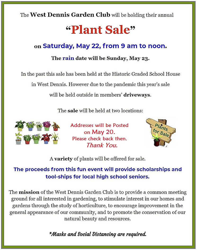 2021  May 22 Plant Sale - Publicuty info