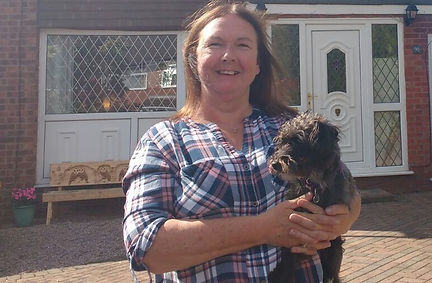 Gemma and Pepper outside our house in Bredbury, Stockport
