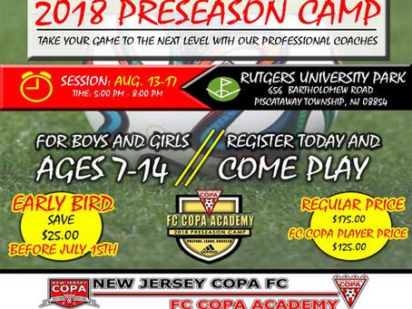 FC COPA ACADEMY 2018 PRESEASON CAMP